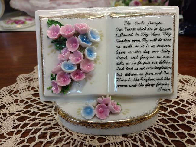 Vintage China Vase The Lords Prayer Handcrafted Flowers By Lefton