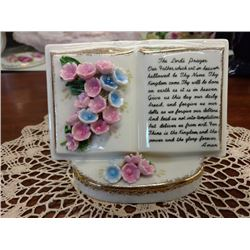 VINTAGE CHINA VASE, THE LORDS PRAYER, HANDCRAFTED FLOWERS BY LEFTON CHINA CO