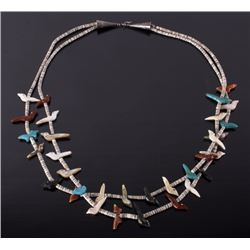 Navajo Multi-Stone Fetish Heshe Bead Necklace