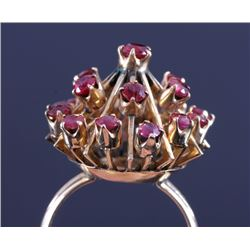 14K Gold Burmese Ruby Sputnik Design Cocktail Ring
