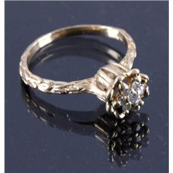Lotus Flower Diamond & 14K Gold Ring circa 1940's