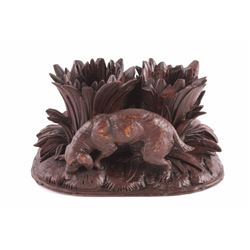 Black Forest German Carved Ink Well Holder