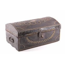 Antique Leather Brass Tacked Wooden Trunk