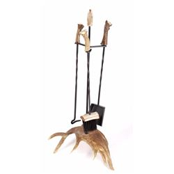 Moose Antler Fireplace Set & Burr Handle Tools