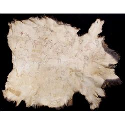 Plain Indian Polychrome Pictorial Painted Elk Hide