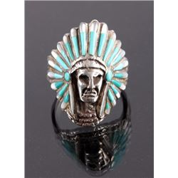 Navajo Sterling Silver Turquoise Headdress Ring