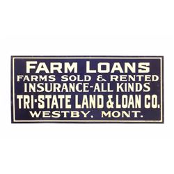 Original Westby Montana Farm Loans Sign Early 1900