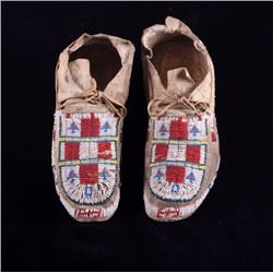 Central Plains Fully Beaded Moccasins Early 1900's