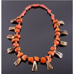 Navajo Buffalo Teeth and Coral Necklace