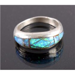 Signed Navajo Sterling Silver Opal Ring