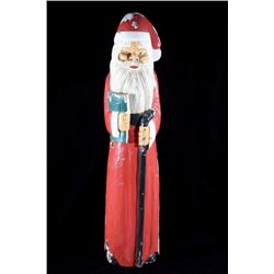 Hand Carved & Painted Folk Art Santa Claus Statue
