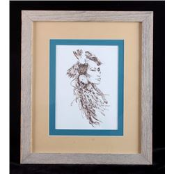 Charley Bear Original Framed Pen and Ink Drawing