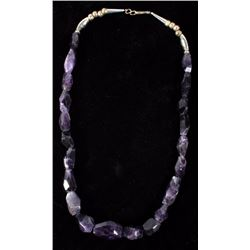 Navajo Hand Faceted Amethyst Gem & Silver Necklace