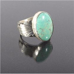 Navajo Sterling Silver & Turquoise Engraved Ring