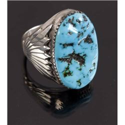 Signed Zuni Sterling Silver & Turquoise Ring