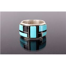 Navajo Sterling Inlay Ring With Turquoise and Jet
