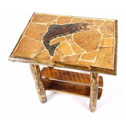 Rustic Inlaid Stone & Peeled Log Trout End Table