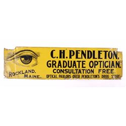 C.H. Pendleton Optician Embossed Tin Sign