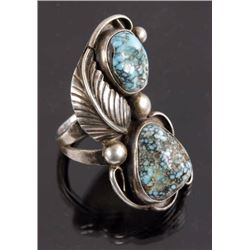 Navajo Sterling Silver & Kingsman Turquoise Ring