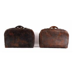 Two Antique Genuine Cowhide Leather Suitcases