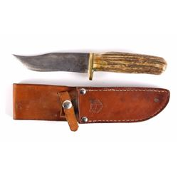 Hefty Stag Handle Bowie Knife w/ Scabbard
