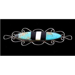 Zuni Sterling Inlaid Turquoise & Jet Brooch