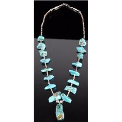 Navajo Turquoise Nugget & Silver Heishi Necklace
