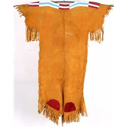 Northern Plains Beaded Indian Tanned Leather Dress