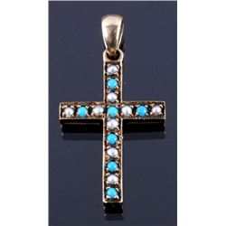 Early American 9ct. Gold & Pearl Cross