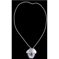Sterling Silver Necklace With Large Amethyst