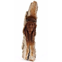 Montana Carved Cottonwood Indian Chief Bust