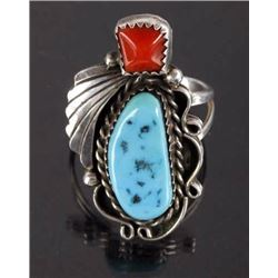 Navajo Silver, Oxblood Coral, & Turquoise Ring