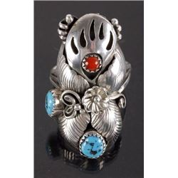 Signed Navajo Silver, Turquoise, & Coral Ring