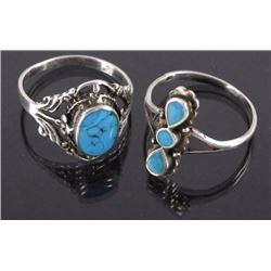 2 Petite Navajo Sterling Silver & Turquoise Rings