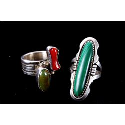 Two Sterling Silver Navajo Pawn Rings