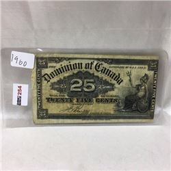 Dominion of Canada 25 Cent Bill