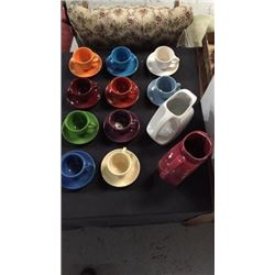 10 Fiesta Ware Coffee Cups and 2 Pitchers