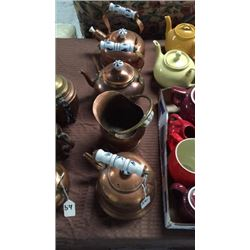 3 Copper Teapots and Water Pitcher