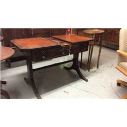 Antique Slide Top Table. Leather inlaid top and