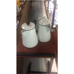 2 enamel coffee pots