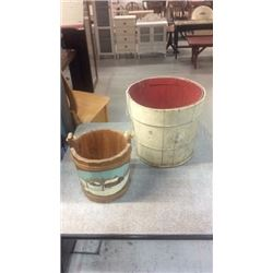 2 painted Wooden buckets