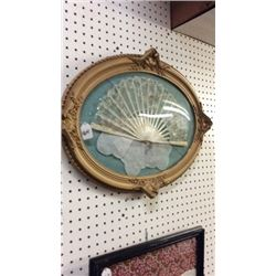 Framed Antique fan and hanky