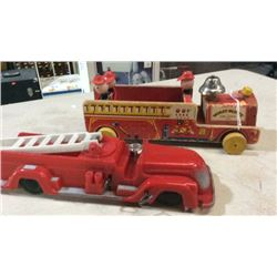 2 toy fire trucks