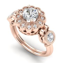 1.5 CTW VS/SI Diamond Solitaire Art Deco 3 Stone Ring 18K Rose Gold - REF-300X2T - 37059