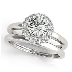 0.75 CTW Certified VS/SI Diamond 2Pc Wedding Set Solitaire Halo 14K White Gold - REF-115M3F - 30915