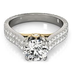 1.61 CTW Certified VS/SI Diamond Pave Ring 18K White & Yellow Gold - REF-402T2X - 28101