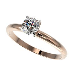 0.54 CTW Certified H-SI/I Quality Diamond Solitaire Engagement Ring 10K Rose Gold - REF-54H2W - 3637