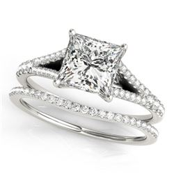 0.94 CTW Certified VS/SI Princess Diamond Solitaire 2Pc Set 14K White Gold - REF-129K5R - 31973