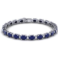 23.5 CTW Sapphire & VS/SI Certified Diamond Eternity Bracelet 10K White Gold - REF-143R6K - 29377