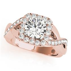 1.4 CTW Certified VS/SI Diamond Solitaire Halo Ring 18K Rose Gold - REF-235K3R - 26189